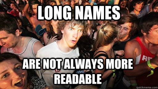 Long variable names are not more useful